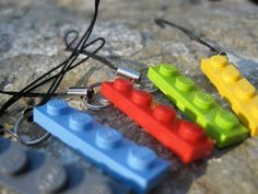 Zipper Pull with LEGO Plate SET of 6 in Blue, Red, Yellow, Lime, Grey and Black. $6.00, via Etsy.