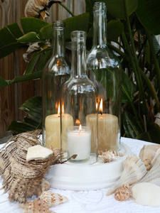 wine bottle hurricane lamp centerpieces | ... ~ Triple Wine Bottle Beach Rustic Wedding Hurricane Lamp Centerpiece