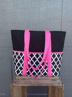 Excited to share the latest addition to my #etsy shop: Black White Work Tote, Quilted Pink Tote Bag, Large Purse w/ Outside Pockets, Quilted Tote Bag, Work Handbag, IPad Pro Bag, Washable Bag #bagsandpurses #black #babyshower #pink #blackwhitepinkbag #ipadcarrier #cottonfabricbag #quiltedbag #16x14x4bag