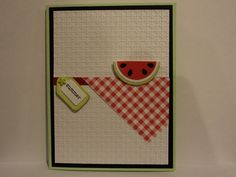 Summer Season Card--used circle punches for the watermelon and the black seeds I made using an EK Success punch. Used the SU Square Lattice embossing folder for the white background. More deets and photos on my blog-TFL  My blog is: cardcornerbycandee.blogspot.com