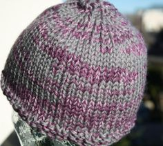 Thick Hand Knit Beanie in Purple and Grey by LilRedKnittingHood, $20.00
