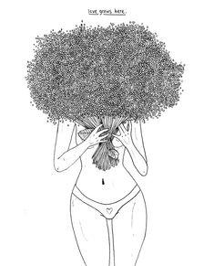 love grows here. Outlines. Illustration by Laura Klinke. Instagram: lauraklinke_art #art #illustration #fineliner #linework #flowers #plants