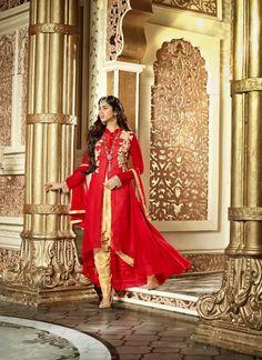 Heavy Designed Benglori Red Colored Salwar Kameez