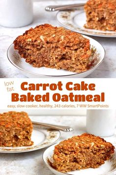 7 FSP This low fat Crock Pot Carrot Cake Baked Oatmeal is a great make-ahead breakfast that bakes up like a moist, dense, not-too-sweet muffin! Ww Recipes, Slow Cooker Recipes, Crockpot Recipes, Cooking Recipes, Cake Recipes, Amish Recipes, Dutch Recipes, Low Fat Carrot Cake, Carrot Cake Oatmeal
