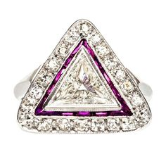 Triangle Cut Diamond and Ruby Platinum Art Deco Engagement Ring. Monument Park, ca. 1920s-30s