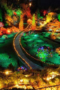 Sunken garden night scene in Christmas in Historic Butchart Gardens, Victoria, British Columbia, Canada