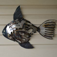 Recycled metal fish wall art - Mosaic rustic fish - Scrap metal mounted fish - Beach house decor - Angelfish wall mounted sculpture by dwcmetals on Etsy https://www.etsy.com/listing/70057577/recycled-metal-fish-wall-art-mosaic