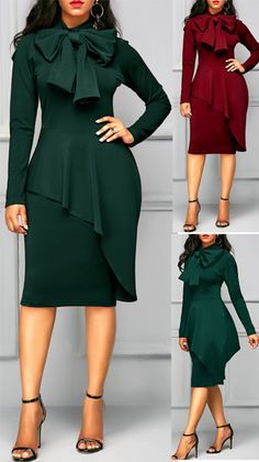 Peplum Waist Tie Neck Dark Green Dress
