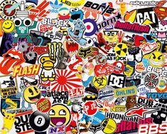 Pegatinas: Sticker Bomb para decorar tablas de surf o skate. Disponibles varios modelos y tamaños de adhesivos #stickerbomb #pegatina #skate