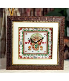 Price: INR 1513 | MOQ=50 Piece #Beautiful #Hand #Painted #Marble #Clock with #Lord #Ganesh  @ArtistryC.in  #Diwali #Corporate, #Festival, #Home #Exports #Traditional #Gift #Table #Clock