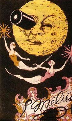 """""""Viaje a la luna"""" (1902) del mago y hechicero Georges Méliès. Delicioso, delicioso y delicioso corto con el que nos vamos de aventura, vestidos con chisteras y levitas, eso sí ;-), a la mágica luna. """"La invención de Hugo"""" (2011), peli de Scorsese huele a todo esto, ¿verdad? Si se hiciera ahora algo así como lo que creó Méliès, se le llamaría """"steampunk""""."""