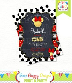 Minnie Mouse Invitations Minnie Mouse 1st by lovebuggydesigns