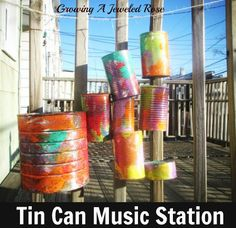 Tin Can Backyard Band- outdoor music station made from recycled tin cans