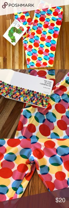 """Lularoe- TC leggings Super cute Polka Dot LLR TC leggings. Worn 1x! For my sons """"Very Hungry Caterpillar"""" theme birthday party! No holes! No pilling! (See pics) washed per LLR recommendations. (Book not included) 😆 💕🤹🏻♀️🎨🐛🍎 LuLaRoe Pants Leggings"""