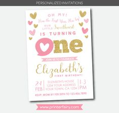 Little Sweetheart First Birthday Invitation. This listing is for a Personalized digital Invitation. Nothing physical will be shipped! I will design the invitation shown in the listing with your party details and you will receive the personalized digital files for you to print as many
