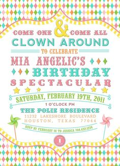 Carnival birthday - invitation