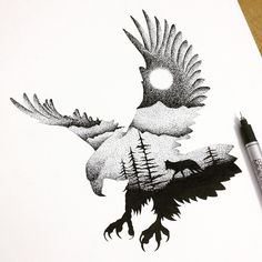 Illustrator and graphic designer Thiago Bianchini reveals a deep reverence for the mystical majesty of the animal kingdom in thousands of intricate ink markings. Inspired by double exposure Wolf Tattoos, Animal Tattoos, Cross Tattoos, Tatoos, Turtle Tattoos, Bird Tattoos, Flag Tattoos, Wolf Silhouette, Silhouette Drawings