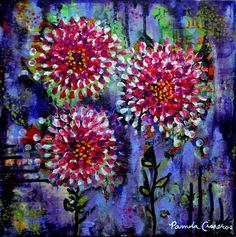 """""""Everything's Coming Up Peonies"""" 12x12x2.  Acrylic on Canvas.  Copyright 2014 Pamela Cisneros.  Available at www.pamelacisneros.com."""