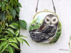 Nuno Felted Coin Purse OWL with bag frame metal closure, Pouch, Clutch, handmade, OOAK, Wet Felted   Ready to Ship
