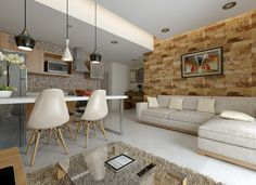 I love the stone wall accent Condo Living Room, Heart Decorations, Lofts, Fine Dining, Organization Ideas, Sweet Home, Decor Ideas, Couch, Spaces