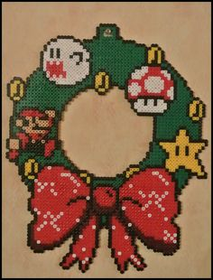 Mario Christmas Wreath perler beads by Jelizaveta on deviantART