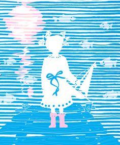 Летние картинки. Картинка про Варю и водные просторы. #рисунок #графика #drawing #graphics #child