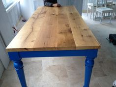 Reclaimed Oak Wood-Blue Legs_Dining Table by A M B A R Design  #furniture #table #blue #reclaimed #wood