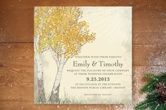Fall Tranquility Wedding Invitations by Jenifer Ma... | Minted -  God I had no idea how much freaking cards cost.  And I dislike most of them.  Except this one.