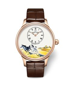 The Jaquet Droz Petite Heure Minute 39 mm (U.S. price: $30,500), has an ivory grand feu enamel dial with miniature paintings of two Arab thoroughbreds — considered by many to be the most beautiful horses in the world — in full gallop.