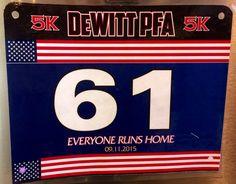 16th 5K - DeWITT PFA 5K.  September 11, 2015.  Dewitt, NY.  Time 30:21min (9:46).  Placed 4th in Age Bracket!! Running Bibs, September 11, Company Logo