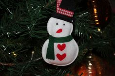 Handmade felt Christmas tree decoration - Snowman