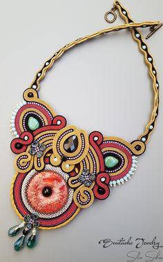 Dream on Unique soutache necklace with jasper donut and onyx