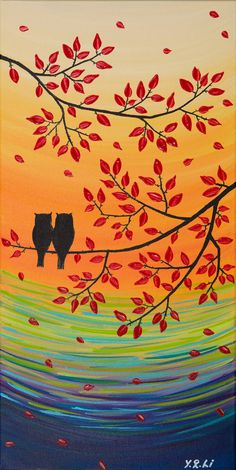 Owl Painting Original Acrylic Painting Impasto by QiQiGallery
