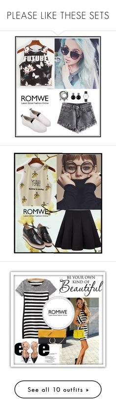 """""""PLEASE LIKE THESE SETS"""" by amra-f ❤ liked on Polyvore featuring Daniel Wellington, romwe, Essie, Who What Wear, Venus, Agent 18, Bobbi Brown Cosmetics, In Your Dreams, Terre Mère and Versace"""