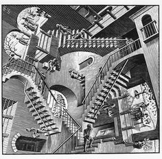 20 Decorating Tips and Ideas for Sprucing up the Stairways of your Home : Mc Escher. Optical Illusions Pictures, Illusion Pictures, Illusion Kunst, Illusion Art, Op Art, Escher Kunst, Mc Escher Art, Escher Drawings, Tableaux Vivants
