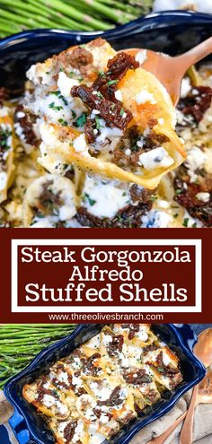 Steak Gorgonzola Alfredo Stuffed Shells are a twist on an Italian pasta Copycat Olive Garden recipe. Ground beef, four cheeses, sun-dried tomatoes, and spinach in a cream sauce. Ground Beef Stuffed Shells, Italian Stuffed Shells, Alfredo Stuffed Shells, Chicken Stuffed Shells, Spinach Stuffed Shells, Olive Garden Stuffed Shells Recipe, Baked Chicken, Spinach Dinner Recipes, Pasta Recipes