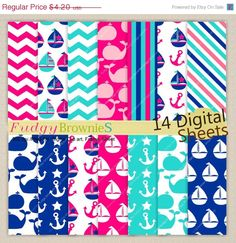 ON SALE Sail boat Digital Paper pack , whale,summer sailing , invites, card making, digital scrapbooking, No.219/2,Instant download