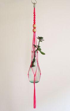 Small macrame plant hanger - neon pink.