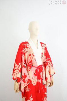1960/'s Vintage Men/'s Unisex Antique Silk Shibori Juban Kimono Duster Jacket