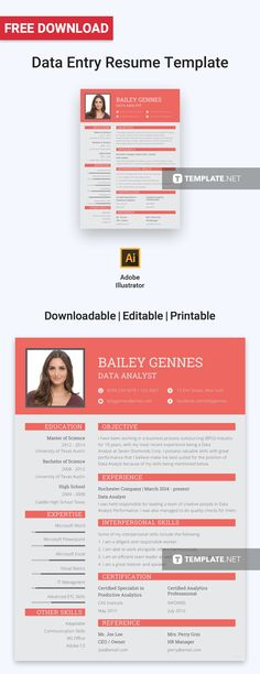 Free Data Entry Resume Template Design Templates Layout