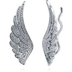 BERRICLE Sterling Silver CZ Angel Wings Fashion Cuff Earrings found on Polyvore featuring jewelry, earrings, clear, ear crawlers, women's accessories, clear crystal earrings, pave jewelry, clear earrings, sterling silver jewelry and cz earrings