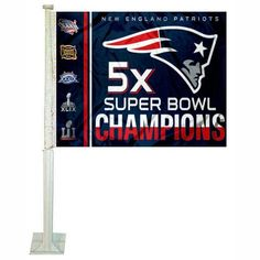 0eca4d10b7c NFL New England Patriots Super Bowl 51 5x Champions Car Flag