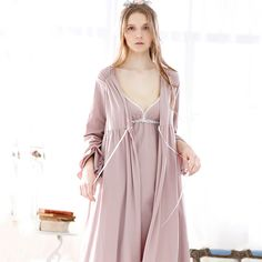 Fashion Spring And Autumn Bathrobes Brief Cotton Royal Sleeve Elegant Lacing Fresh Lounge Separate Robes For Women Free Shipping