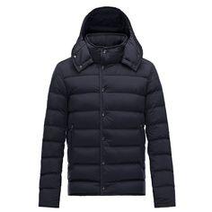 Men Moncler Dark Blue Nazaire Lightweight Hooded Puffer Jacket