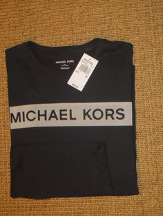 MICHAEL  KORS  MK  MENS  LOGO  T - SHIRT  XL  X  LARGE  BLACK NEW   $49 TAG #MichaelKors #BasicTee T Shirts, Tees, Nike Swoosh Logo, Michael Kors Men, Xl, Nike Sportswear, Workout Shorts, Large Black, Sweatshirts