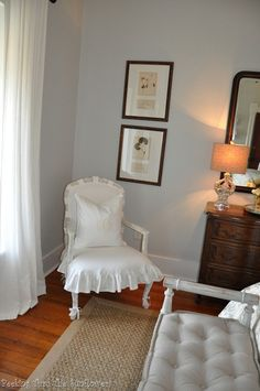 white slipcovered chair
