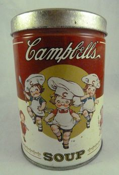 Vintage Campbell's Soup Kids Red Label Tin Can With Lid