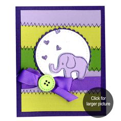 Elephant with Hearts card