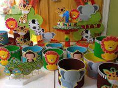 fiesta infantil tematica animales de la selva - Buscar con Google Safari Party, Jungle Party, Jungle Theme Birthday, Animal Birthday, 1st Birthday Parties, Party Animals, Animal Party, Party Themes For Boys, Clay Pot Crafts