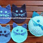 cat crochet potholder